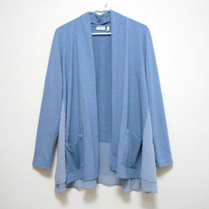 LOGO Lounge Open Front Cardigan with Layered Hem